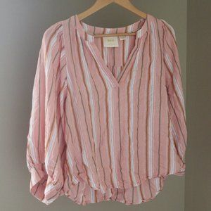Anthropologie Maeve Vertical Stripe Popover Blouse